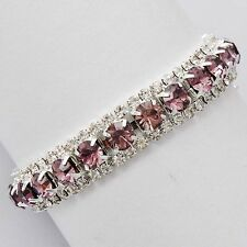 Fashion jewelry Womens White Gold Filled/Silver purple Crystal Tennis Bracelet