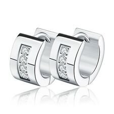 316L Stainless Steel Hoop Gold Plated Punk CZ Crystal Earrings