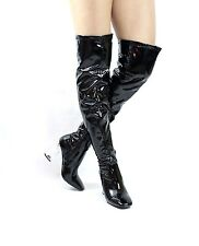 Patent PU High Block Clear Lucite Perspex Heels Thigh High Over The Knee Boots