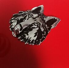 CHROME Silver Metal Wolf Dog 3D CarBadge Decal Emblem Sticker UK Seller