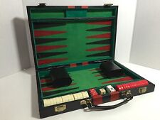"Vintage Backgammon Set With Faux Leather Black & Red Case 10"" X 15"" Kj070616B"
