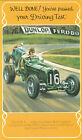 The E.R.A. Riley Engined Racing Car ~ Driving Test Pass Vintage Greeting Card