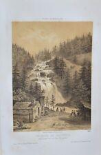 Lithographie XIXème - Cauterets - Chute du Gave de Gaube - Deroy - Arnout