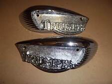 TRIUMPH CHROME TANK BADGE T100 T120  BONNEVILLE 1966-68 UK MADE 82-6887 82-6888