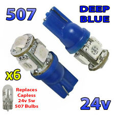 6 x Blue 24v Capless Marker Light 505 501 W3W 5 SMD T10 Wedge Bulbs HGV Truck