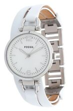 Brand New Fossil ES3246  White Georgia Leather Double Band Women's Watch