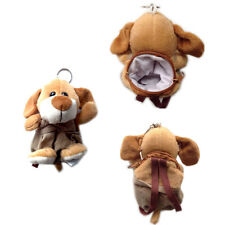 "Plush Keychain Keyring Zippered Coin Pouch Bag Dog Puppy Wearing Overall 5"" NEW"
