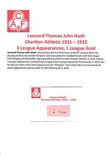 LEONARD NASH CHARLTON ATHLETIC 1931-1932 EXTREMELY RARE ORIGINAL SIGNED CUTTING
