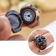 Unisex Finger Ring Watch Vintage Clamshell Watch Pirate Skull Design Woman Man