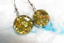 ORGON / ORGONE / ORGONITE dangle earring with natural PERIDOT & REAL GOLD FLAKES