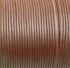 Imported India Leather Cord 2mm Round 5 Yards Metallic Light Rose Pink