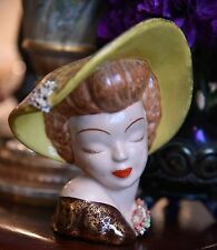 "VINTAGE LADY HEAD VASE MID CENTURY HAT HAND PAINTED DIOR STYLE FASHION 6""H x 5""W"