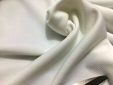 "*NEW* Extra Wide 70""-178cm Textured Stretch Jersey Ivory White Fabric*FREE P&P*"