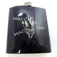 Batman The Joker Engraved Black 6oz Glitter Painted Hip Flask Liquor FEN-0033