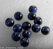 Vintage Glass Beads Set of 12 Round Black Blue Design Jewelry Making