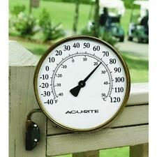Indoor Outdoor Acu-Rite DecorativeAged Brass Metal Thermometer 00334
