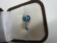 GORGEOUS ESTATE 14 KT GOLD 1.45 CTW VIVID BLUE DIAMOND RING !!!!!!