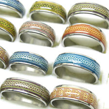 New 10Pcs Mixed Size Vintage Stylish Oil Drop Stainless Steel Rings Jewelry T11