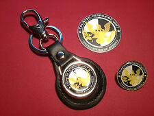 COUNTER TERRORIST UNIT `C.T.U.`:  LEATHER KEY RING, BADGE &  FREE   STICKER