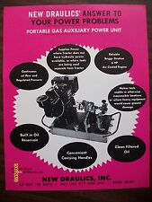 Rare Vintage New Draulics Portable Gas Auxiliary Power Unit Flyer