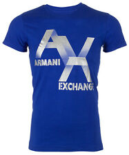 ARMANI EXCHANGE Mens T-Shirt AX LOGO Slim Fit BLUE Casual Designer M-XL $48