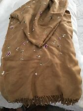 Pashmina/Silk Scarf Wrap Shawl Brown With Embroidery