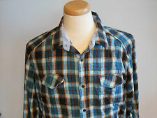 Billabong Mens button front long sleeve plaid flanel shirt size XL