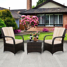 3 PCS Outdoor Patio PE Rattan Wicker Furniture Set Seat Cushioned Mix Brown