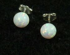 Man Made White Fire Opal 6mm Sphere Ball .925 Sterling Silver Earrings Post Stud