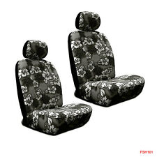 New Black Hawaiian Flowers Hibiscus Print Car Front Low Back Bucket Seat Covers