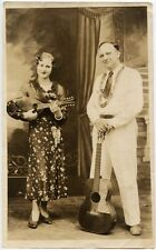MANDOLIN AND GUITAR WITH MUSICAL COUPLE VINTAGE PHOTO 1930