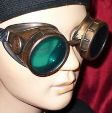 Steampunk Goggles Glasses cyber lens Gold Green goth Aviator Biker Rave