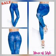 High Waisted Skinny Stretch Denim Look Leggings UK Size 8 - 12 * Limited Stock