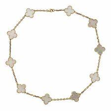 Van Cleef & Arpels Vintage Alhambra Mother of Pearl 10 Clover Necklace $7150