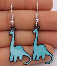 925 Silver Plated Hook - 2'' Blue Dinosaur Diplodocus Oil Painted Earrings #02