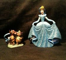 Disney Princess Cinderella & Jaq and Gus Mice Christmas Ornament set PVC Blue