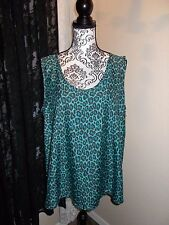 Butterfly Back Shirt turquoise & blue leopard print Misses size 16 handmade