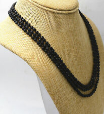 "Fashion jewelry 3 rows Faceted 4 mm natural black onyx bead necklace 17-19 ""AAA"