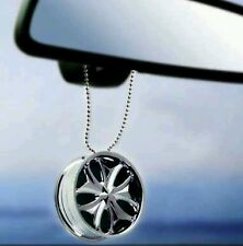 Car Hanging Perfume - Alloy Wheel Shape - Chrome Finish - Plastic Sporty