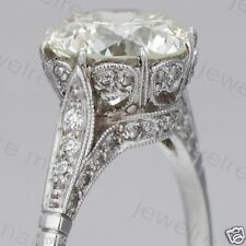 White Round Diamond Edwardian Art Deco Engagement & Wedding Sterling Silver Ring