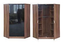 High Gloss 2 Door Corner Wardrobe 2 Hangers 10 Shelves Black White Black/Walnut