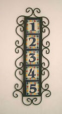 5 Mexican 4x4 House Numbers Tiles with Vertical Iron Frame
