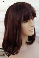 brown curly wavy fringe shoulder length hair wig fancy dress cosplay free cap
