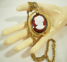 B.J. BIG CAMEO PENDANT NECKLACE ROPE CHAIN FAUX TORTOISE GOLD PLATE VINTAGE