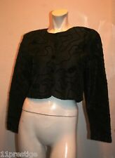 VLADIM  BLACK TOP EMBROIDERY DETAIL LONG SLEEVE ACETATE BLEND MADE IN ITALY 42