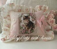 Pink Roses~Brown Tabby Cat~Pillow~Net Lace~Heart Locket~Vintage Pearl Buttons