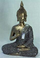 Golden Meditating Thai Buddha w Silver Glitter & Mirror Mosaic Robe 23300BUD - B