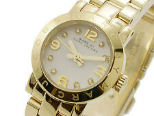 NEW MARC JACOBS MBM3226 HENRY DINKY WHITE GLITZ DIAL GOLD STEEL WOMEN'S WATCH