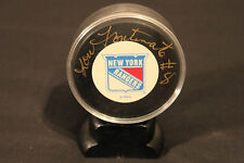 LOU FONTINATO signed New York Rangers puck #8, comes with hold