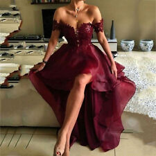 High-Low Off The Shoulder Formal Evening Dress Celebrity Pageant Party Prom Gown